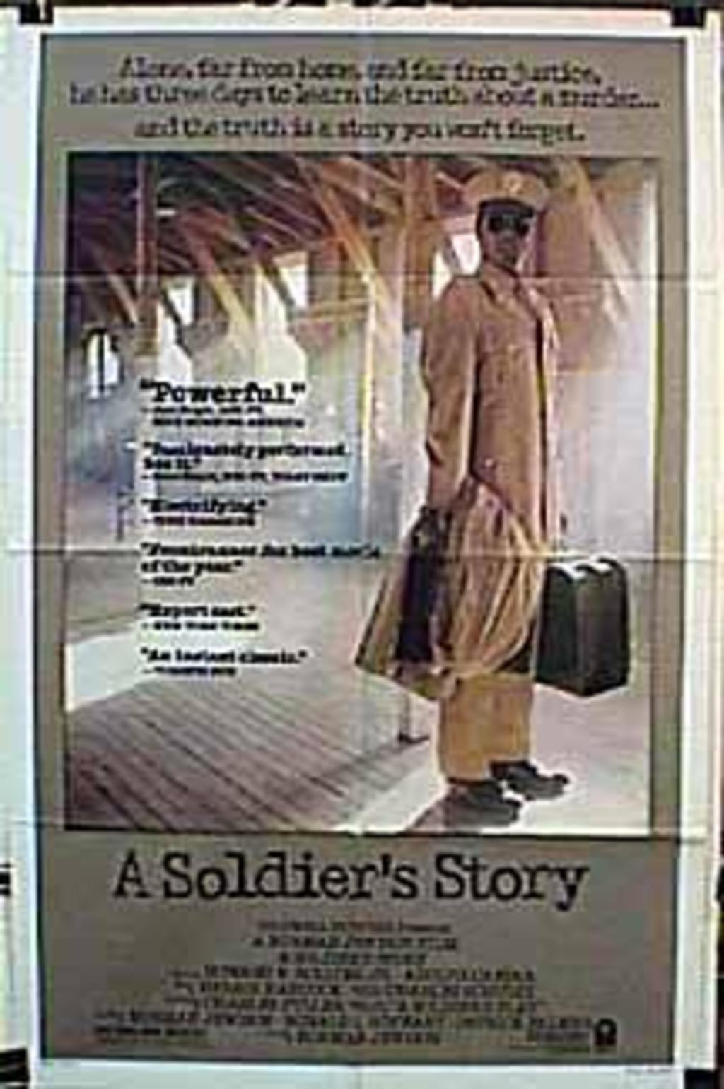 a soldier s story A soldier's story moves quickly and there are plenty of outside shouts to avoid that claustrophobic, one-dimensional, stage feeling like so many other reviewers agree this is very well done with negro soldiers just dying for a chance to prove their worth and kill some nazis.